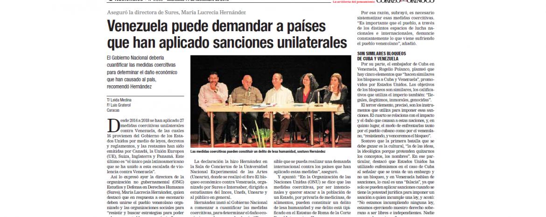 Venezuela puede demandar a pa�ses que han aplicado sanciones unilaterales