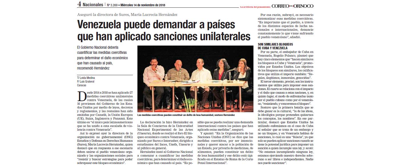 Venezuela puede demandar a países que han aplicado sanciones unilaterales